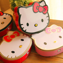 Free Shipping! L size Cute Kitty Cat Cookie Box Lovly Girls Metal Storage Case Candy Box Macarron Metal Case Gift Case