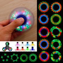 Light Fidget Spinner LED Flash Words & Patterns ABS EDC Hand Spinner Anxiety Stress Relief Finger Spiner Toy for Autism & ADHD