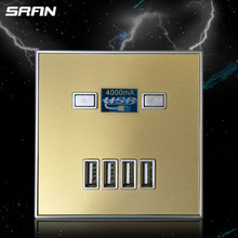 36V 220V 10A 4000MA 4 USB Charging USB Wall Socket Electrical Outlets With Black white Gold enchufe pared con usb
