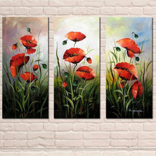 Abstract Red Flower Oil Painting 3 Panel Combination Wall Art Artwork for Home Hotel Decor Hand Painted Canvas Picture Artware