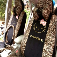 5 Colors 18pcs Universal Leopard Cartoon Universal Hello Kitty Car Seat Covers Universal Car interior Accessories