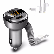 Dual USB Car Charger Adapter LCD digital Voltage Monitor 3.4A Car-Charger For iPhone Samsung Car USB Quick Charger With Cable