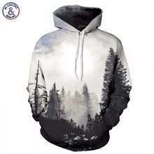 Mr.1991INC New Fashion Autumn Winter Men/women Thin Sweatshirts With Hat 3d Print Trees Hooded Hoodies Tops Pullovers(China)