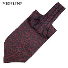 LJ09-01 Men Vintage Black Red Striped Wedding Ties Formal Cravat Ascot Scrunch Self British style Gentleman Neck Tie Luxury Gift(China)