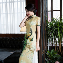 Buy Charming Retro Women Chiffon Lined Silk Short Sleeve Audrey Cheongsam Chinese Traditional Wedding Dress High-slit Long Qipao for $39.78 in AliExpress store