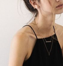2016 New Punk Minimalist Double Layer Rivet Bar Choker Pendant Necklace Simple Boho Clavicle Chain Necklace Jewelry For Women