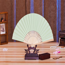 11pcs* Personalized Ladies Bamboo & light green Paper Fan Hollow Out Hand Folding Fans Outdoor Wedding Party Favor(China)