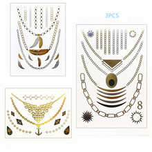 3 design set Gold Temporary Tattoo hair tattoo Jewelry Flash Body art make up necklace Flash tattoo fake tattoo for girl boy(China)