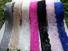 Wholesale 10 yards Quality embroidered stretch lace ribbon width 3.5 cm, DIY Clothing / Accessories / floral accessories, etc.(China)