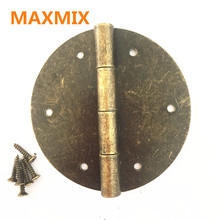 MAXMIX 2PCS 60mm Antique furniture hinge round wooden box  Door Butt Hinge Accessories Wood Box Hinges Fittings For  Furniture