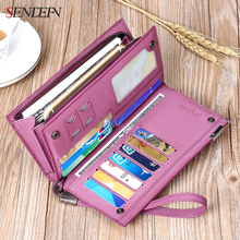 Sendefn Large Capacity Genuine Leather Women Wallets Long Lady Purse Female Card Holder Phone Coin Pocket Wallet Women