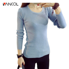 2015 Christmas Ladies Plain Color Slim Round Neck Wool Winter Long Femme Pull Cashmere Pullover for Women Knit Sweater