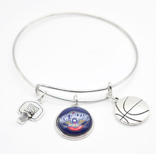 2017 New Basketball Charm New Orleans Pelicans Bracelets&Bangle for Women Super Bowl Fans Jewelry(China)