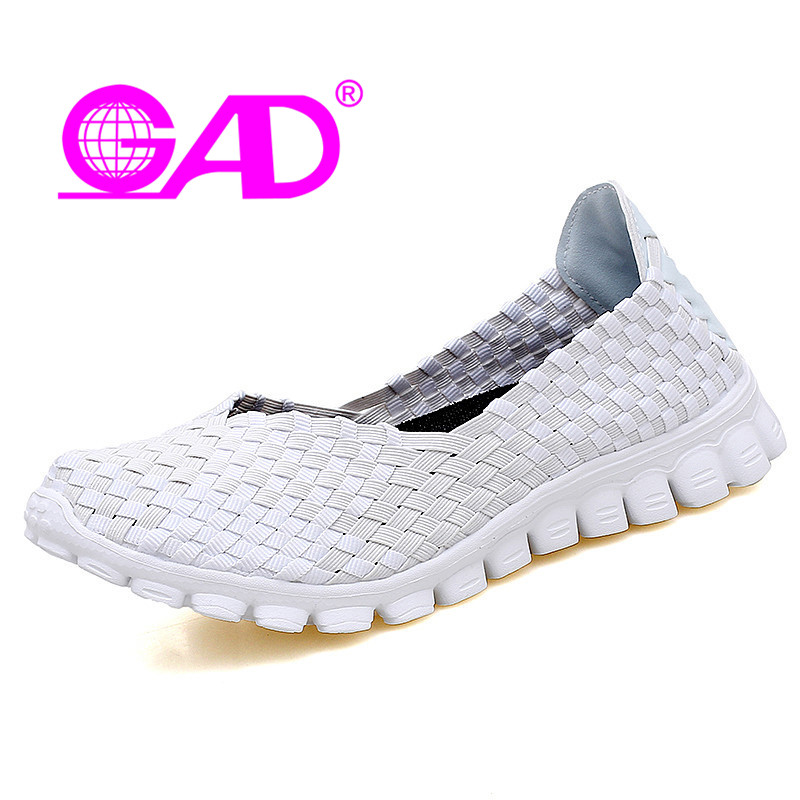 GAD Women Woven Shoes Summer New Arrival Round Toe Slip-on Women Casual Shoes Fashion Shallow Breathable Flat Shoes Women<br>