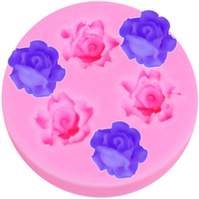 M122 Rose Flowers Round Silicone Mold Forms for Soap DIY Crafts Mould Candle Molds In Silicone Cake Tools(China)