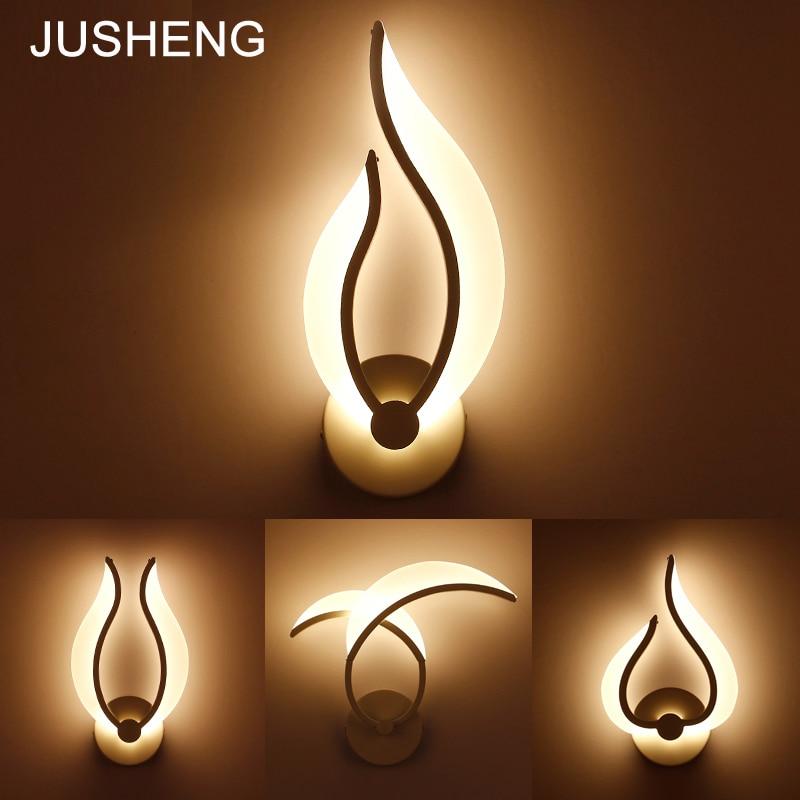 JUSHENG modern deracotive wall lamp bedroom & living room & bathroom Acrylic lampshade 9W 110~220V AC