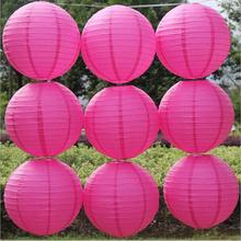 Cheap! Rose Red Color Paper Lanterns10/lot Chinese Traditional Round Paper Festival Lantern wedding party decoration(China)
