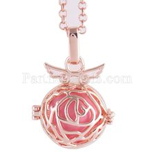 Partnerbeads Geometric Angel Lockets Plated Inlaid CZ Stone Stainless Steel Cage Prayer Box (exclude the ball) AC3768R