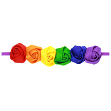 2017 Newly Design 1pc Rainbow Color Rose Flowers Headbands Baby Girls Children Hair Accessories H161