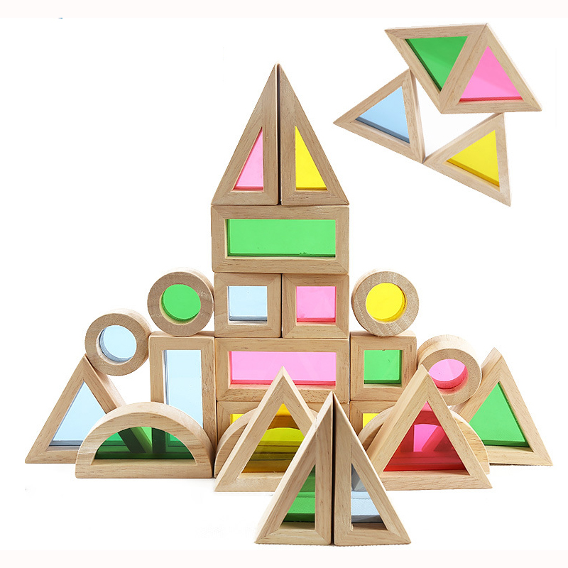 24PCS Baby toy Creative Acrylic Rainbow Educational Tower Pile of Building Blocks Diy Wooden learning Assemblage Geometric toys<br>