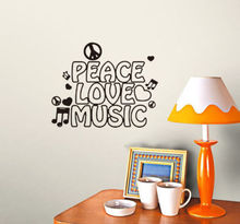 D432 Peace Love and Music Note Lovely Study Kid Child Vinyl Decal Art Wall Quote Sticker for Kids Room Living Room Home Decor