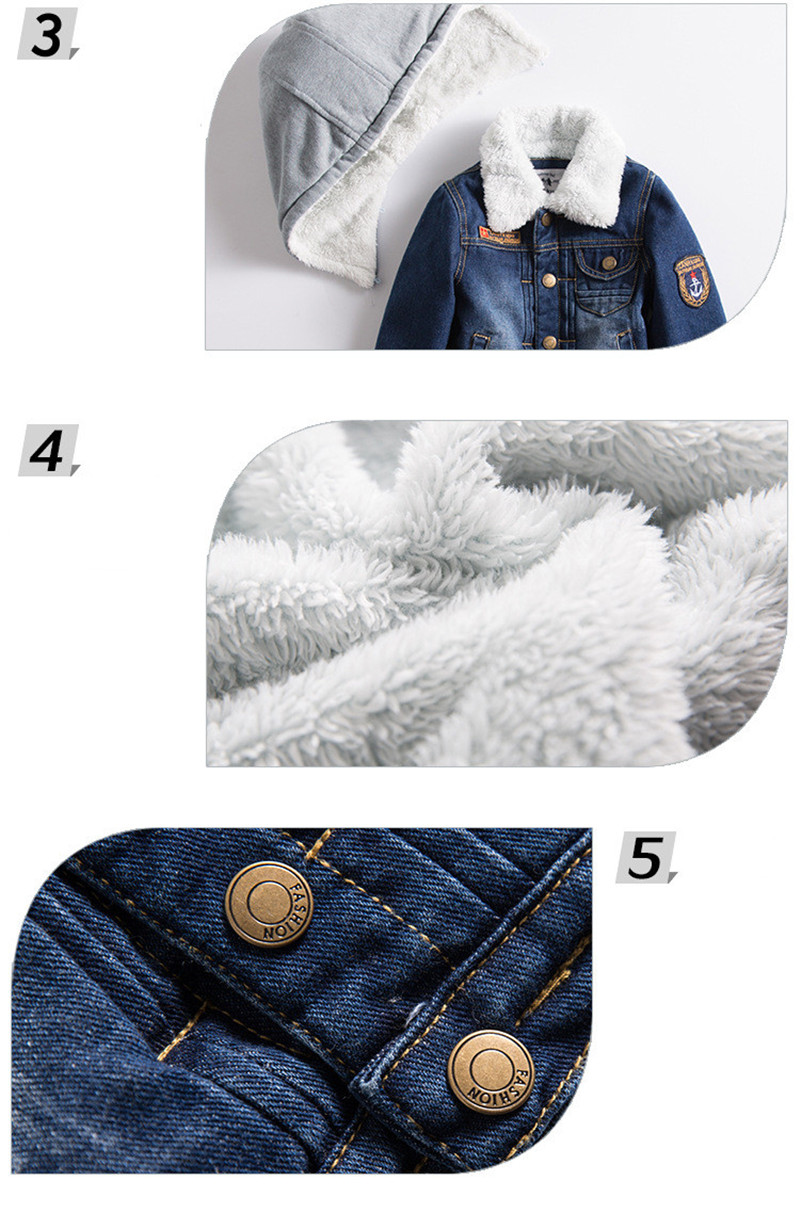 2017 New Children's Denim Jacket Cotton Clothing Fashion Outerwear Russia Winter Baby Boy Jacket Warm Children Clothing zl907