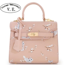 Vintage Embroidery Bag Original New Bolsas Mujer Faux Leather PU Pink Cat Floral Women's Handbags For Lady Messenger Bags Totes(China)