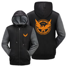 Game Tom Clancy's The Division SHD Logo Hoodies Zip Up Printing Pattern Coats Super Warm Thicken Fleece Men's Coat Jacket US Siz