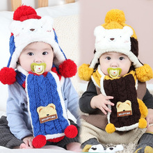 Winter Baby Hat and Scarf Cute Bear Crochet Knitted Caps for Infant Boys Girls 6-12M Children Kids Neck Warmer Free Shipping