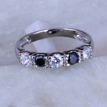 Love Monologue Trendy Black imitation Onyx & White Cubic Zirconia Rings for Women, 925 Stamp Silver Color Rings J0232