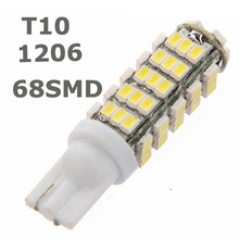 T10 68LED 1206 68 SMD LED Car T10 68smd 1206/3020 W5W 194 927 161 Side Wedge Light Lamp Bulb for License plate lights(China)