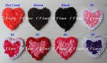 "EMS/DHL Free Shipping 280pcs/lot  20 colors 3"" Chiffon Rosette Hearts,Shabby Chic Chiffon Heart Appliques,Hair Accessories"
