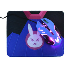 Overwatch D.VA Anime USB Wired Computer Gaming Mouse Bunny 2400DPI Optical Lights 6 Keys For Gamer Laptop Free Cute Mouse Pad