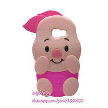 Soft Silicone Phone Cover Case For Samsung galaxy J5 Pirme 3D Cute Cartoon Rose Red Big Ears Pig