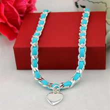 XQ Free shipping 2015 Big blue leather cord necklace of hearts Ms alloy fashion necklace the banquet(China)
