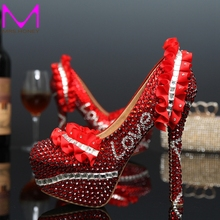 2016 Newest Design Red Rhinestone Bride Shoes Cusstomized Wedding Dress Shoes Platform Pumps High Heel Shoes Love Shape