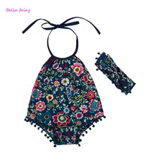 New 2017 Summer Baby print  Romper Baby Girl Rompers  Baby Jumpsuit Infant Newborn Baby Clothes With Headband Hot Sale
