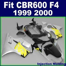 High grade motorcycle fairings for HONDA CBR 600 F4 1999 2000 silver bodyworks 99 00 cbr600 f4 Injection mold custom fairings(China)