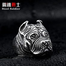 steel soldier Wholesale Exaggerated Ring Pit Bull Bulldog Dog Rings Men Personality Titanium Steel Animal Jewelry