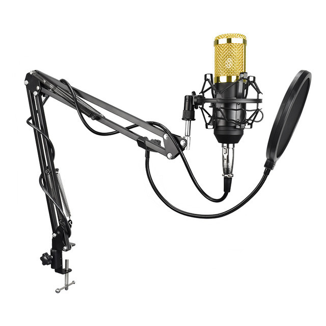 Ituf BM-800 Professional Studio Broadcasting Recording Set Condenser Microphone Ball-type Anti-wind Foam Cap Power Cable Black-16