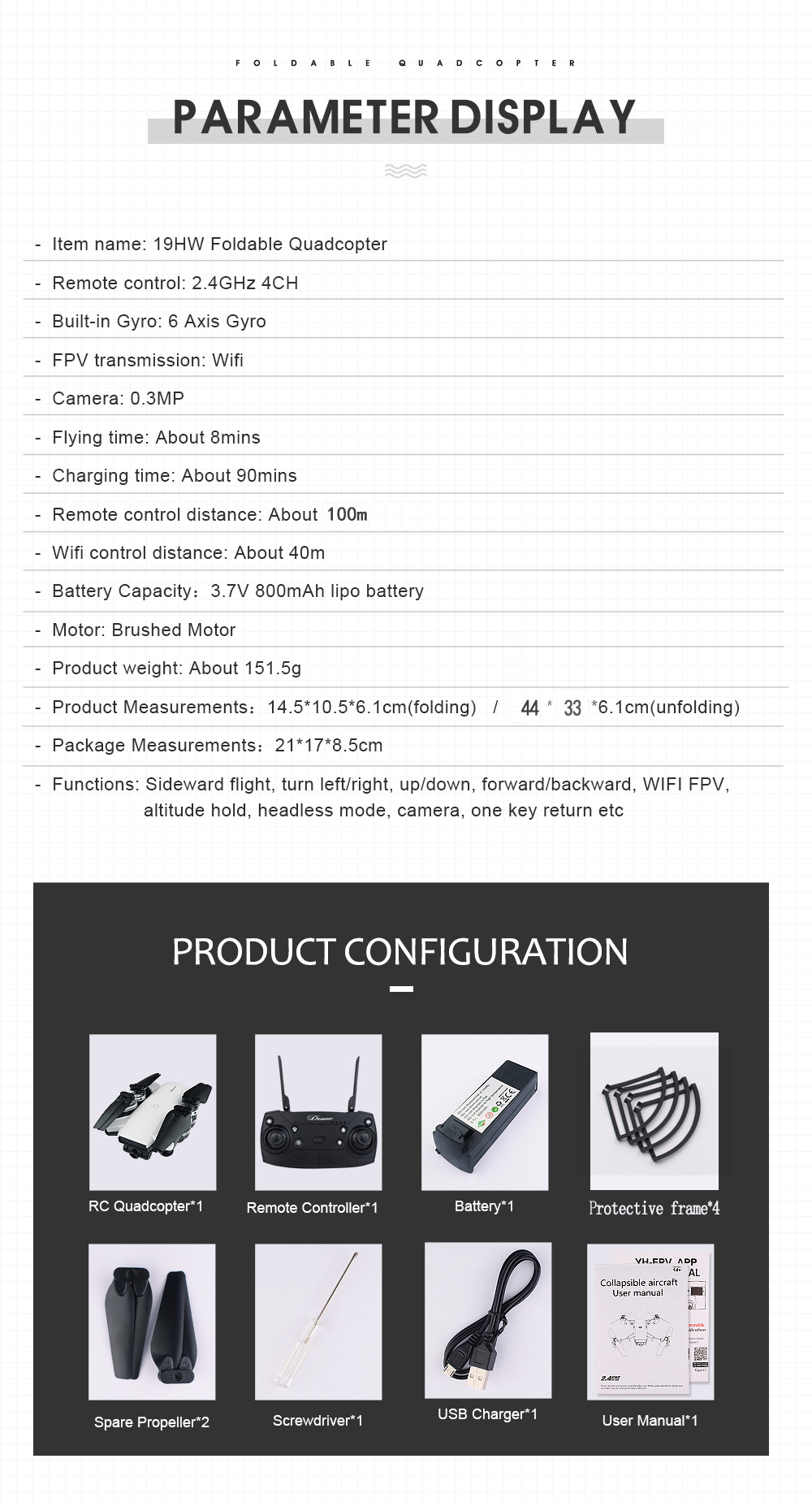18.New 2.4Ghz 4ch foldable FPV rc drone with 2MP wide angle wifi camera
