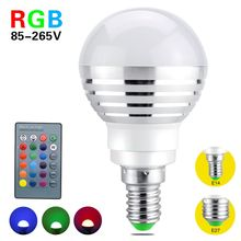 METOO E14 E27 16 Colors Changing 3W 85-265V Magic RGB LED Lamp Light Dimmable RGB Bulb with 24key IR Remote Control lighting
