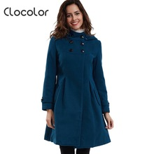 Clocolor Vintage Coat China Cheap Hooded Collar Double-Breasted Long Women Overcoat Vintage Elegant Slim Fall Winter Women coat