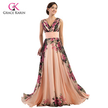Ladies Evening Dresses 2017 Grace Karin Elegant Flower Chiffon Plus Size Formal Gowns High Quality Long Evening Party Dress(Hong Kong)