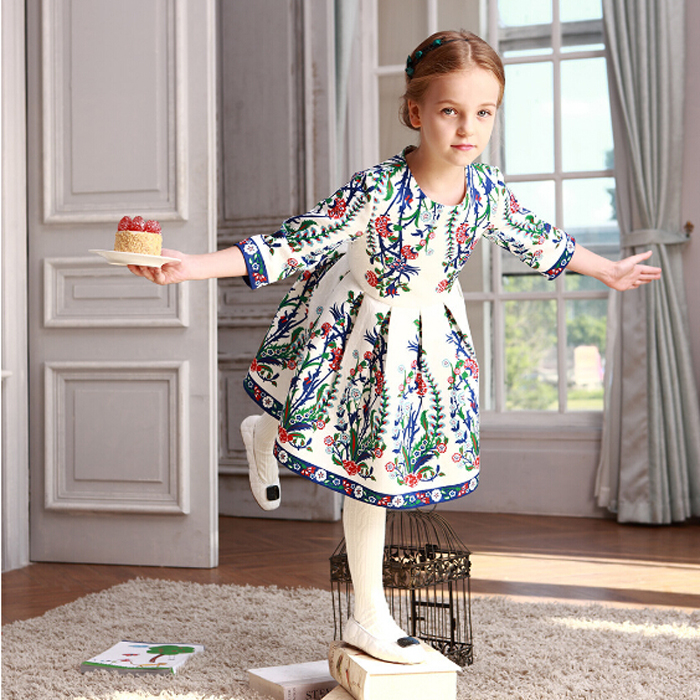 WL MONSOON  Girls Party Dress Children Vestidos  Brand Kids Costume Princess Girls Dresses Floral Pattern Kids Dress<br>