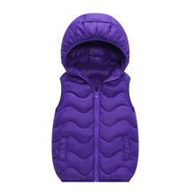 6 Color  Kids Vest Children Clothing Girls Spring Vest Hooded Jacket Winter Waistcoats for Baby Boy Outerwear cotton Coats