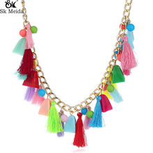 Bohemian Ethnic National Style Necklace Hanging Spike Small Tassel Plush Ball Multi Element Necklace Clothing Accessories WW-40(China)