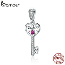 Buy BAMOER 100% 925 Sterling Silver Happiness Key Heart Shape Pendant Charm fit Women Bracelets & Necklaces Jewelry Gift SCC791 for $4.92 in AliExpress store