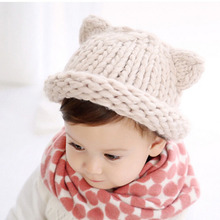 Handmade Knitted Cute Baby Girl Boy Winter Hat Cat Ears Lovely Cartoon Design Baby Hat Crochet Pattern Hat SW145(China)