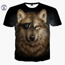 Mr.1991INC&Miss.GO Summer New Men/Women 3D Printing Funny Wolf Animal One-Eyed T Shirt Short-Sleeved Round Neck Tops & Tees